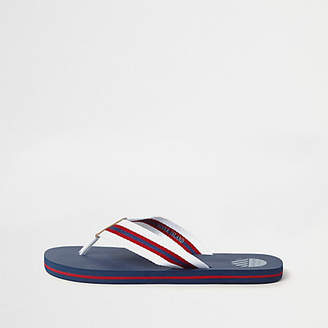 River Island Navy stripe canvas flip flops
