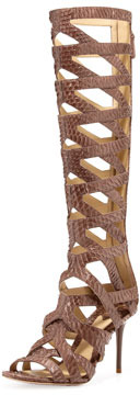 Brian Atwood Ethanna Snakeskin Cage Boot