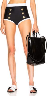 Balmain High Waist Bikini Bottom in Noir & Blanc   FWRD
