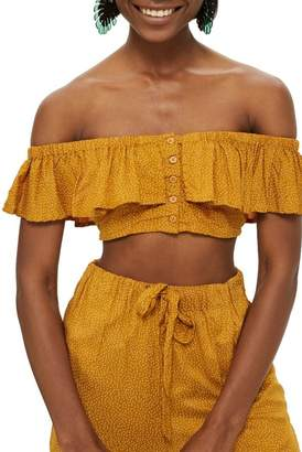 Topshop Spot Frill Off the Shoulder Crop Top