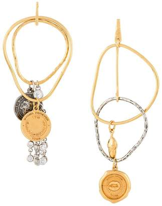 Sonia Rykiel asymmetric coin earrings
