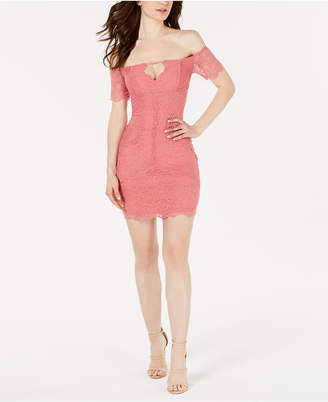GUESS Off-The-Shoulder Lace Bodycon Dress