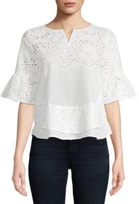 Lumie Eyelet Bell-Sleeve Cotton Top