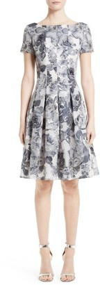Women's St. John Collection Metallic Floral Fil Coupe Dress $1,695 thestylecure.com