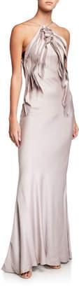Jason Wu Collection Ruffled Satin Halter-Neck Dress