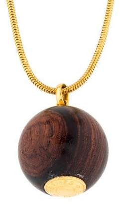 Hermes Sellier Wood Pendant Necklace