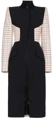 Alexander McQueen multi fabric check wool silk blend coat