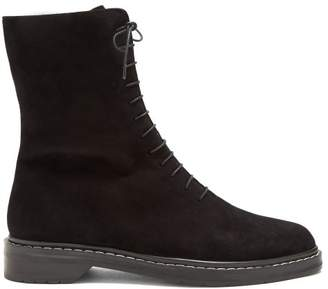 The Row Fara Lace Up Suede Ankle Boots - Womens - Black