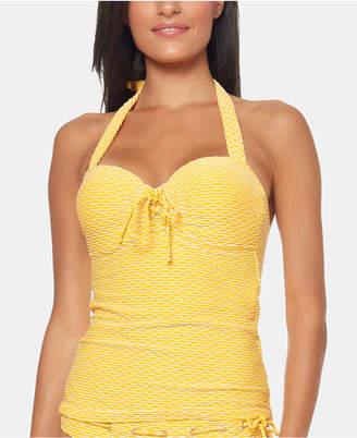 Jessica Simpson Textured Stripe Underwire Sweetheart Tie Tankini Top Women Swimsuit
