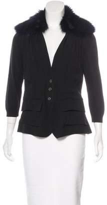 Nina Ricci Silk Fox-Trimmed Jacket