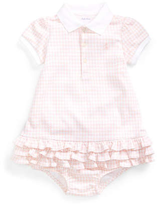 Ralph Lauren Childrenswear Collared Short-Sleeve Ruffle Dress w/ Bloomers, Size 6-24 Months