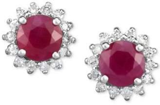 Macy's Certified Ruby (1-1/4 ct. t.w.) & Diamond (1/5 ct. t.w.) Flower Stud Earrings in 14k White Gold