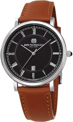 Bruno Magli 41mm Milano Date Watch w\/ Leather Brown\/Black