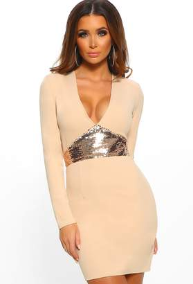 a86c1f58ea7c9 Pink Boutique Midnight Luxe Stone Sequin Long Sleeve Bodycon Mini Dress