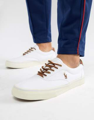 Polo Ralph Lauren Thorton Canvas Trainers Multi Player Leather Trim in White