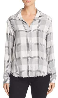 Bella Dahl Frayed Trim Plaid Button-Down Shirt