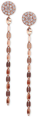 Unwritten Cubic Zirconia Pave Chain Linear Drop Earrings in Rose Gold-Flashed Sterling Silver