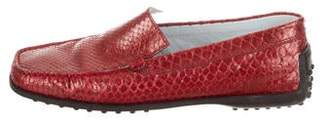 Tod's Snakeskin Square-Toe Loafers