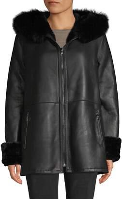 Blue Duck Fox Fur-Trim Sheepskin Hooded Jacket
