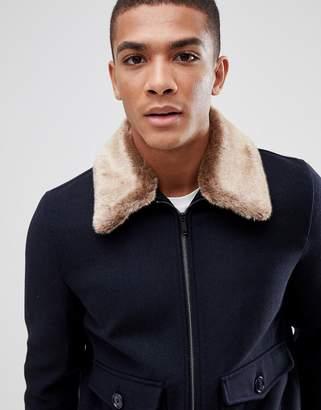 Burton Menswear Jacket With Faux Fur Collar In Navy