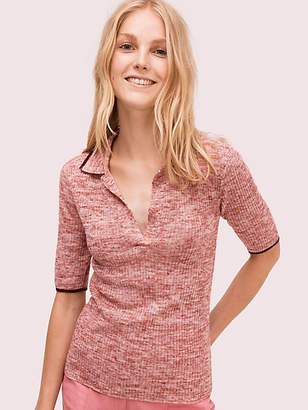 Kate Spade Fine Knit Polo Sweater, Black - Size L