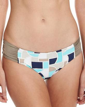 Trina Turk Disco Deco Reversible Shirred-Side Swim Bottoms, Multi $68 thestylecure.com