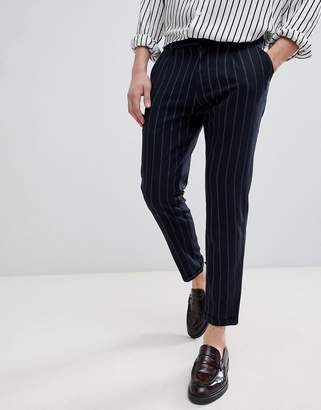 Pull&Bear Striped Tailored Trousers In Navy