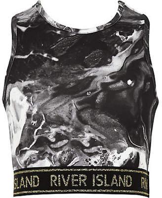 River Island Girls RI Active black marble crop top