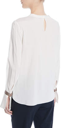 Brunello Cucinelli Jewel-Neck Long-Sleeve Monili Flounce-Cuff Silk Blouse