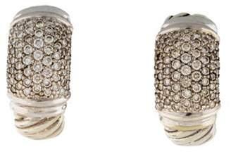 David Yurman Diamond Cable Hoop Earrings silver Diamond Cable Hoop Earrings