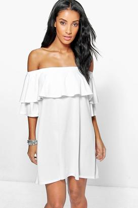 boohoo Whitney Off The Shoulder Ruffle Dress $26 thestylecure.com