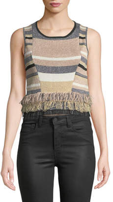 Rosetti Tabula Rasa Cropped Sleeveless Fringe Top