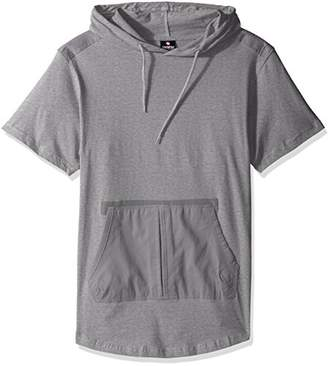 Southpole Men's Short Sleeve Hooded Scallop Tee Fine Twill Detail