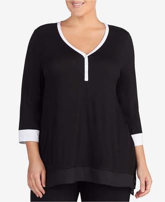 DKNY Plus Size Colorblocked Pajama Top