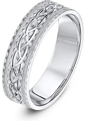 Theia Unisex Sterling Silver Serrated Matt with Center Design 6mm Wedding Ring - Size O