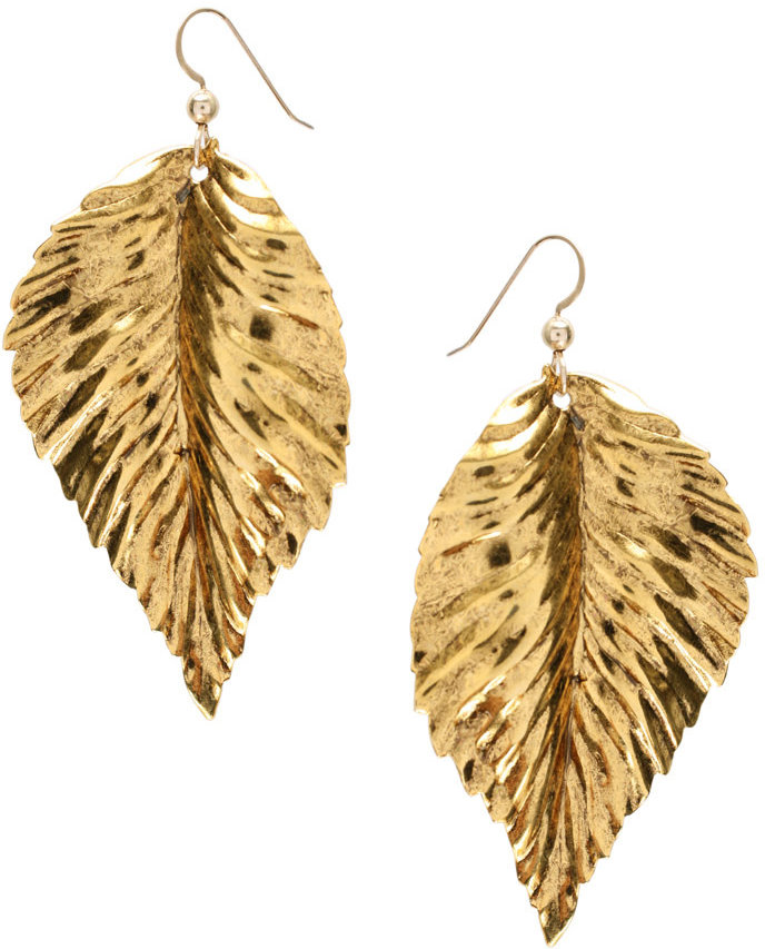Kipepeo gold, Leaf Earrings (+)