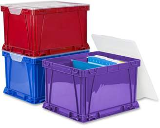 Storex, STX62012U03C, 3 Piece Cube Storage Bins, 3 / Set, Assorted Bright