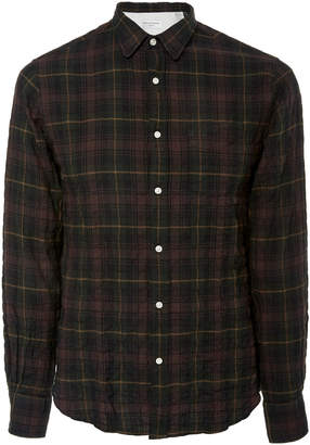 Officine Generale Crinkled Checked Cotton-Poplin Shirt Size: S