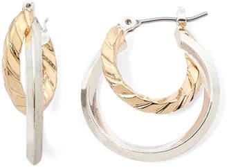 Liz Claiborne Two-Tone 2-Row Hoop Earrings