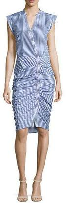 Veronica Beard Sleeveless Ruched Striped Shirtdress, Blue/White $450 thestylecure.com
