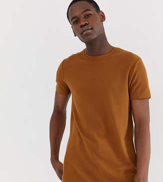 Burton Menswear Big & Tall waffle t-shirt in brown