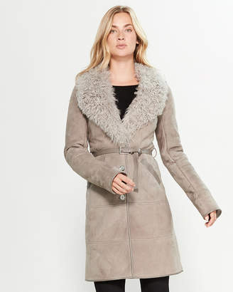Intuition Paris Grey Real Fur-Collar Belted Suede Coat