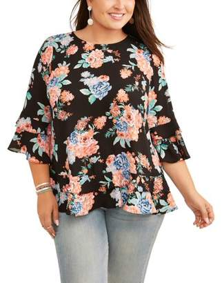 Lifestyle Attitude Women's Plus Stripped Floral Crepe Sleeve Blouse