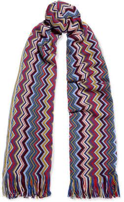 Missoni Fringed Crochet-knit Scarf - Purple