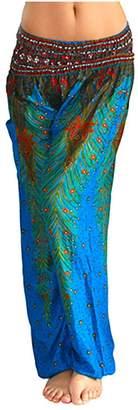 Ilishop Womens Soft Print Plus Size Boho Fitness Peacock Design Yoga Harem Pants