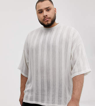 Asos Design DESIGN Plus oversized t-shirt with half sleeve in woven linen fabric