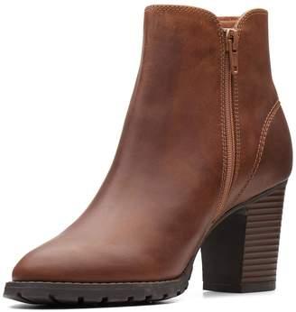 Clarks Verona Trish Heeled Ankle Boot - Dark Tan