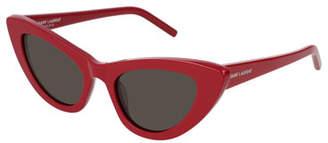 Saint Laurent Lily Cat-Eye Acetate Sunglasses, Red