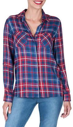 Haggar Petite Urban Gypsy Buttoned Plaid Shirt