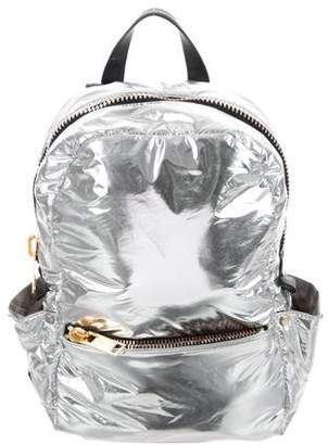 Calvin Klein Collection Leather-Trimmed Metallic Backpack